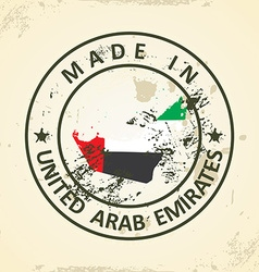 Stamp with map flag of United Arab Emirates vector image