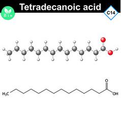 Tetradecanoic acid molecule myristic acid vector image