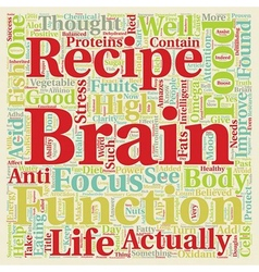 The Brain Food Recipe text background wordcloud vector