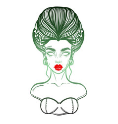 The bride of frankenstein girl line art hand vector