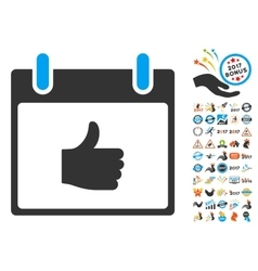 Thumb Up Calendar Day Flat Icon With Bonus vector