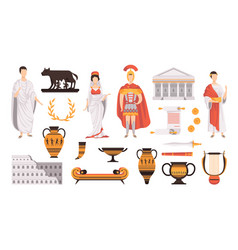 traditional cultural symbols ancient rome set vector image
