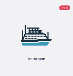 two color cruise ship icon from nautical concept vector image