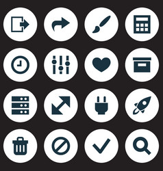 User icons set with ahead log out heart and vector