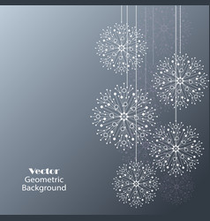 white snowflakes made of connected lines and dots vector image