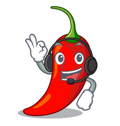 With headphone red chili pepper isolated on mascot vector