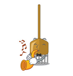 with trumpet garden rake agriculture tool mascot vector image