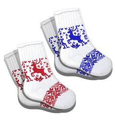 Wool socks with red and blue reindeer pattern vector