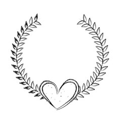 Wreath leafs with heart decorative vector