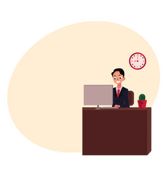 young businessman sitting and working in office vector image