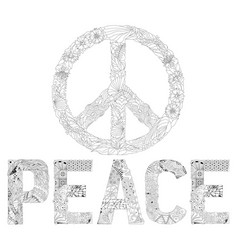 Zentangle stylized word peace sign of peace for vector