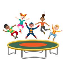 Energetic kids jumping on trampoline vector