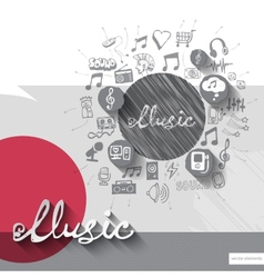 Hand drawn music notice icons with icons vector image