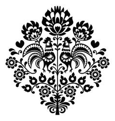 Polish folk art black pattern on white - Wycinanka vector image vector image