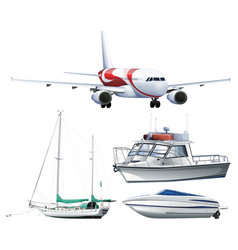 ships and airplane on white background vector image