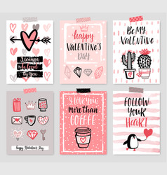 valentines day card set - hand drawn style with vector image vector image