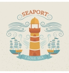 Vintage labels with lighthouse vector image