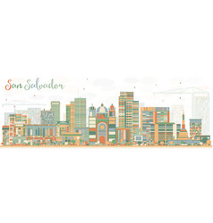 abstract san salvador skyline with color buildings vector image vector image