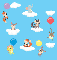baby animals in the sky with balloons and clouds vector image