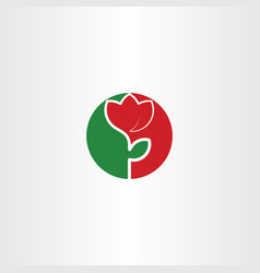 circle flower green red icon logo design vector image