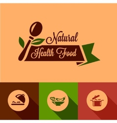 flat natural food design elements vector image