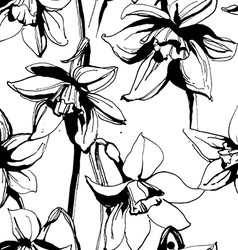 Floral flower narcissus seamless hand drawn vector image