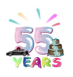 happy birthday fifty five 55 year vector image vector image