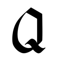 Letter q painted brush vector