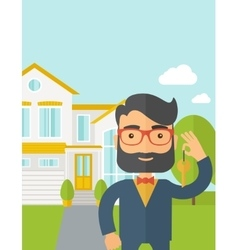 Real estate agent holding a key infront of the vector
