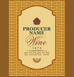 wine labels in a frame on the basket vector image vector image