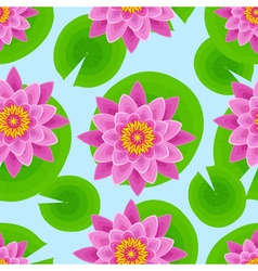 Background seamless pattern with pink lotus vector image