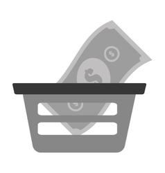 Basket shopping bill money online vector