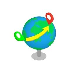 Flight around the world 3d isometric icon vector image vector image