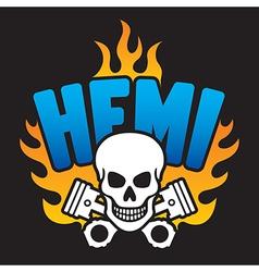 Hemi Skull and Pistons vector image