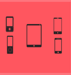 mobile phones and tablets on a red background vector image
