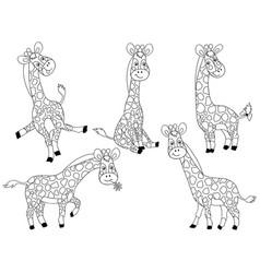 set of cute cartoon giraffes vector image vector image