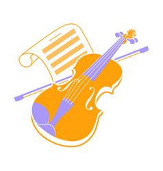 violin icon and music books 2 vector image