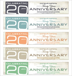 20 years Anniversary retro banner set vector image vector image