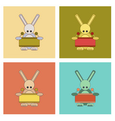 assembly flat icons kids toy rabbit drummer vector image