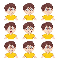 Boy faces showing different emotions vector