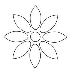 flower black color path icon vector image vector image