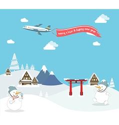 Snowman enjoy christmas travel in asia vector