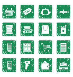 Supermarket icons set grunge vector