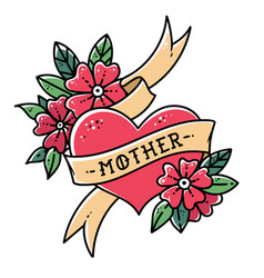tattoo heart with ribbon flowers and word mother vector image