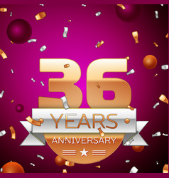 Thirty six years anniversary celebration design vector