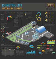 3d isometric airport and city map constructor vector image