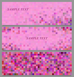 Abstract pixel square mosaic banner design set vector image