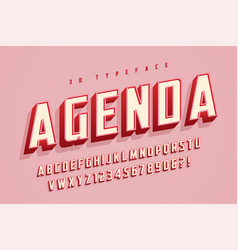 agenda display font design alphabet typeface vector image