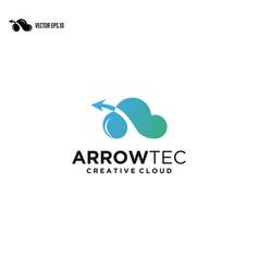 arrow cloud logo cloud computing with logo vector image