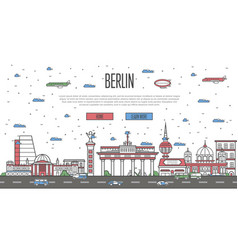 berlin skyline with national famous landmarks vector image